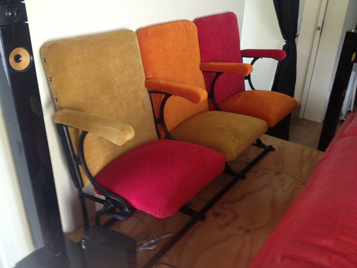 Seats covered in different coloured velvet for Cinema Room on Kelvin Heights.
