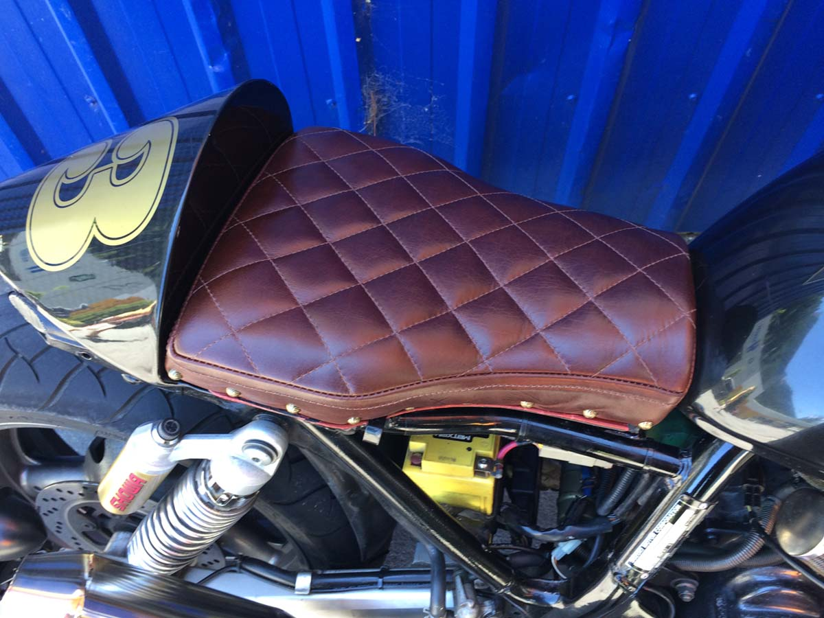 Motor Bike seat with stitching and nail detail