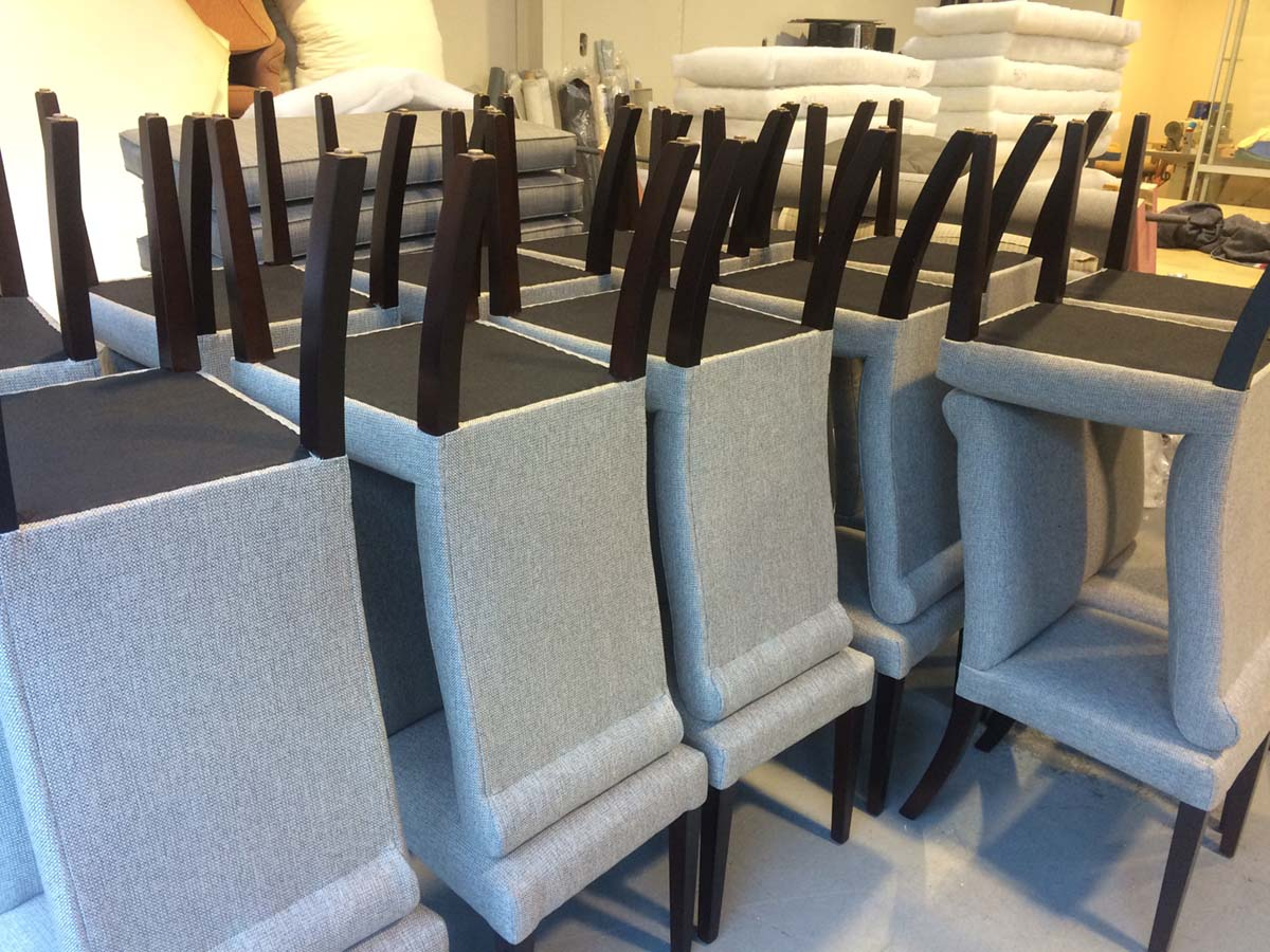 360 Dining Chairs recovered for Edgewater Resort, Wanaka