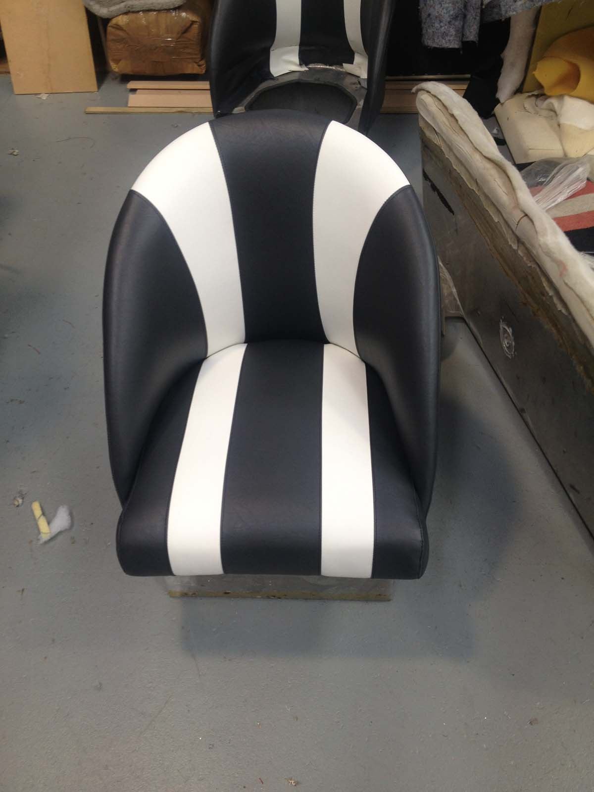 Boat Seats in black and White Marine Vinyl