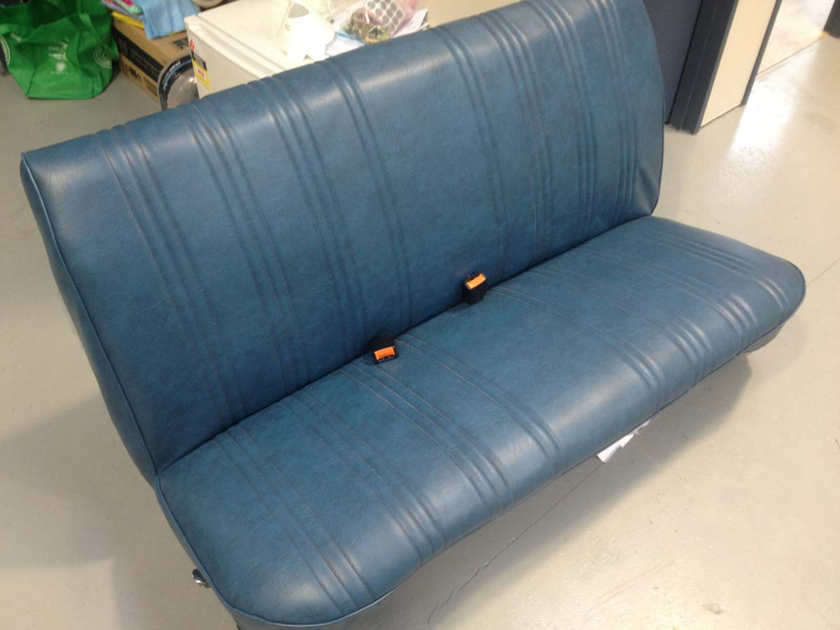 Complete restoration of this car seat in Blue Auto Vinyl